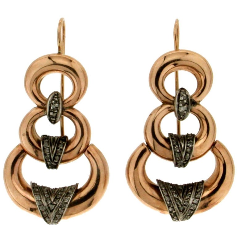Diamonds Gold Drop Earrings