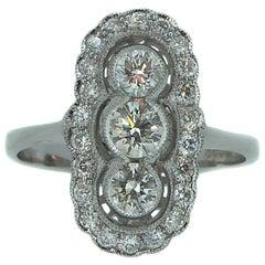 0.88 Carat Art Deco Style Diamond Set Panel Ring, New and Unworn, 18 Carat Gold