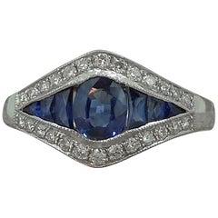 Art Deco Style Sapphire Diamond Ring