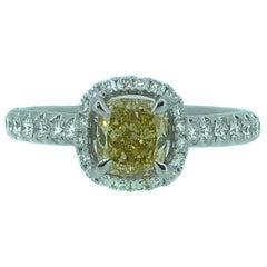 1.14 Carat Yellow Diamond Solitaire Engagement Ring, White Diamond Halo Surround