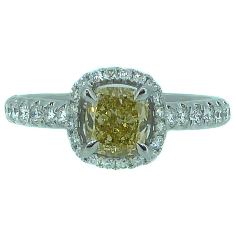 1.14 Carat Yellow Diamond Solitaire Engagement Ring, White Diamond Halo Surround