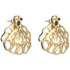 FLOWEN Sterling Silver Aoda Studs and EarJackets in 18k Gold and Black Diamonds