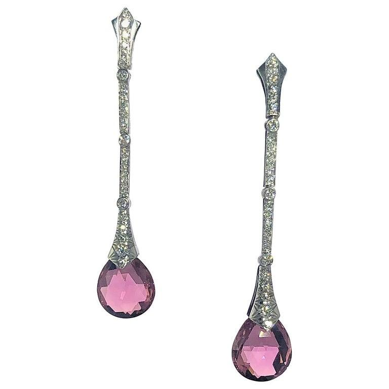 Gumuchian Diamond Pink Tourmaline Stiletto Earrings For Sale