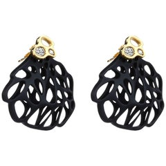 FLOWEN Sterling Silver Aoda Studs EarJackets in Gold, Diamonds and Black Gommato