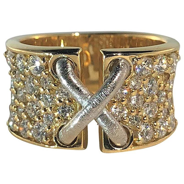 Mark Patterson 18 Karat Two-Tone Gold and 2.31 Carat Round Diamond Garter Ring For Sale