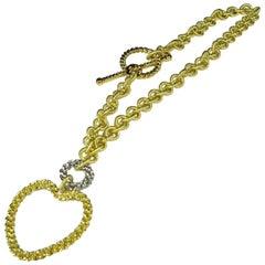 Old World Chain 18 Karat Two-Tone White/Yellow Gold Fancy Anchor Link Bracelet