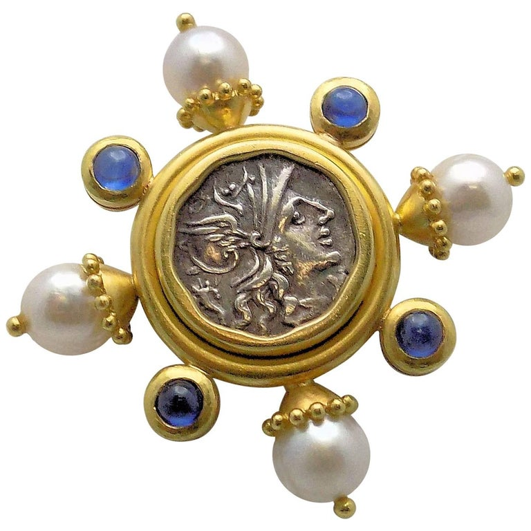 Elizabeth Locke 18 Karat Yellow Gold Antique Brooch, Cultured Pearls & Sapphires