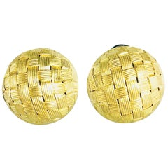 "Roberto Coin ""Appassionata"" 18 Karat Matte Finish Button Earrings"
