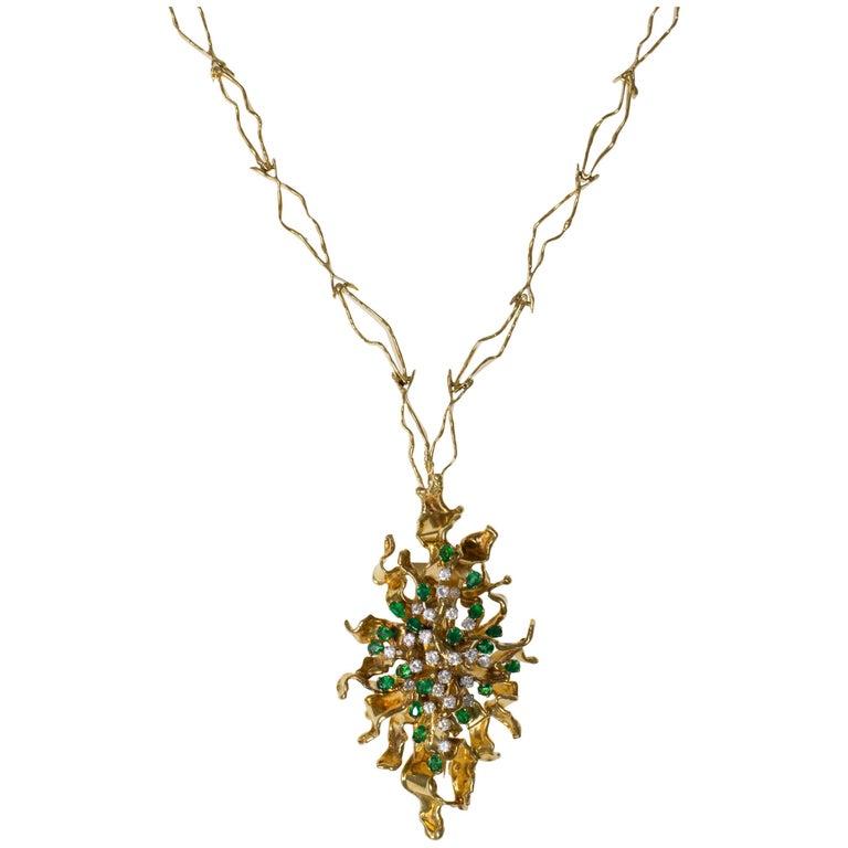 George Weil, Unique Diamond, Emerald, Textured Gold Pendant Necklace