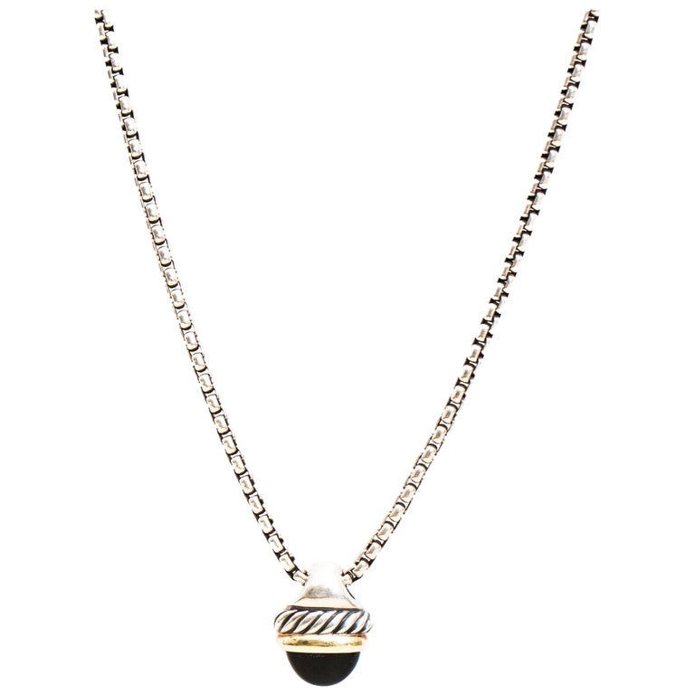 David Yurman Onyx Cable Necklace, Two-Tone Sterling Silver 18 Karat Yellow Gold