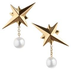 TPL Gold Pearl Star Earrings