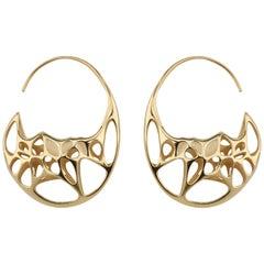 Sterling Silver Goda Hoop Earrings in 18 Karat Gold