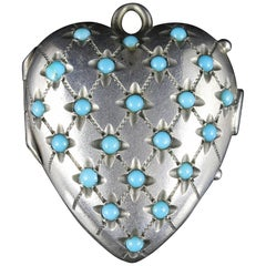Antique Victorian Turquoise Heart Locket Silver, circa 1880