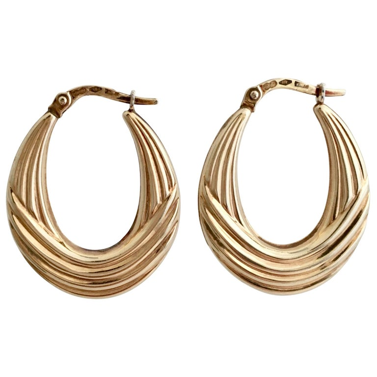 Vintage 1980s Gold Hoops Moulded Ribbed Earrings