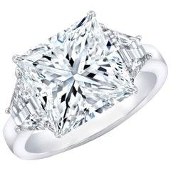 GIA Certified 6.01 Carat Princess Cut E SI1 Platinum Three-Stone Ring