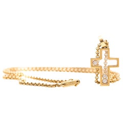 Chopard Happy Diamond 18 Karat Yellow Gold Cross Necklace