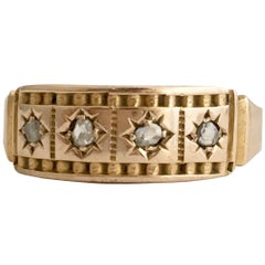 15ct Gold Rose Cut Diamond Chip Ring Antique Gypsy Set Star Band Etruscan Detail