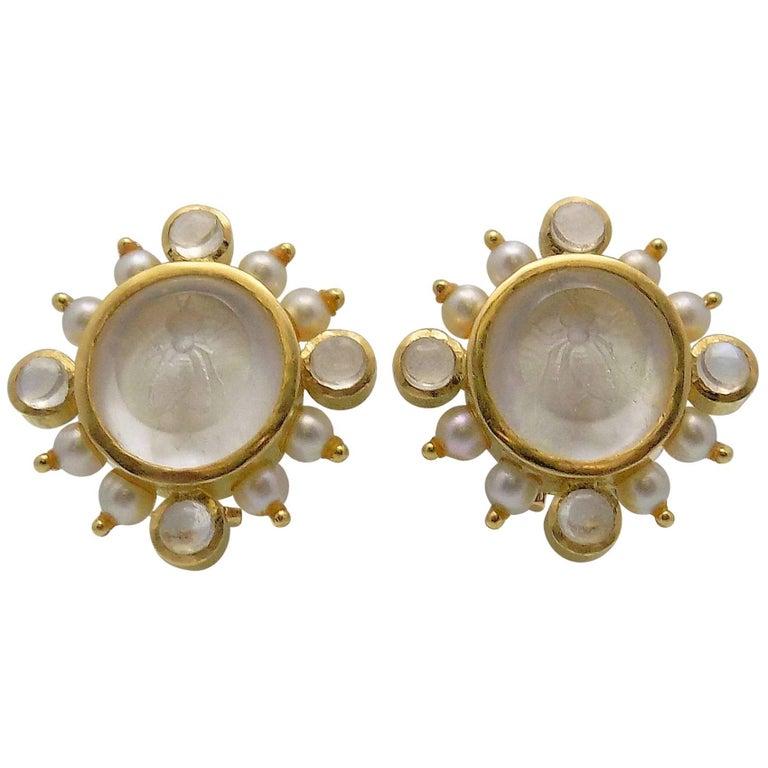 """Elizabeth Locke 18 Karat Yellow Gold Clip/Pierced Mother-of-Pearl """"Bee"""" Earrings"""