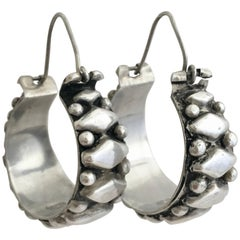 Silver Hoops Folk Bohemian Vintage Jewelry Chunky Hoop Earrings