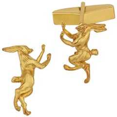 Boxing Hare Cufflinks in Sterling Silver with 18 Karat Vermeil
