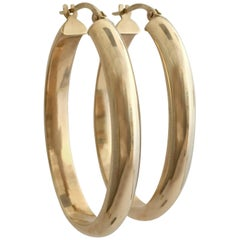Gold Hoops Vintage Jewelry Large Elongated Oval Statement Hoop Earrings