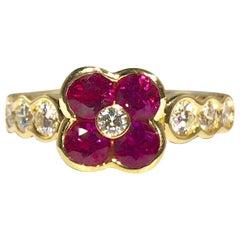 Gumuchian 18 Karat Yellow Gold Diamond and Ruby Flower Cocktail Ring