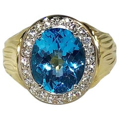 18 Karat Two-Tone Yellow and White Gold Blue Topaz and Diamond Cocktail Ring