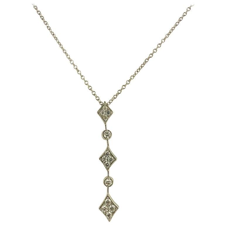 Mark Patterson 18 Karat White Gold Diamond Drop Necklace