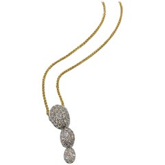 Kurt Gutman 18 Karat White Gold and Diamond Drop Pendant