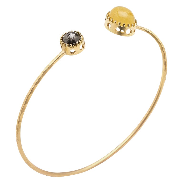Golden Rutilated Quartz and Rose Cut Black Diamond Raised Bezel Open Oculus Cuff