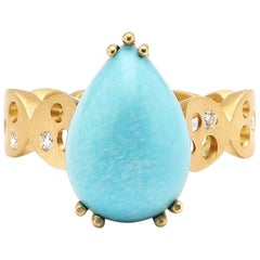Pear-Shaped Sleeping Beauty Turquoise and Coin Band Ring