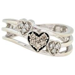 10 Karat White Gold Champagne and White Diamond Heart Ring