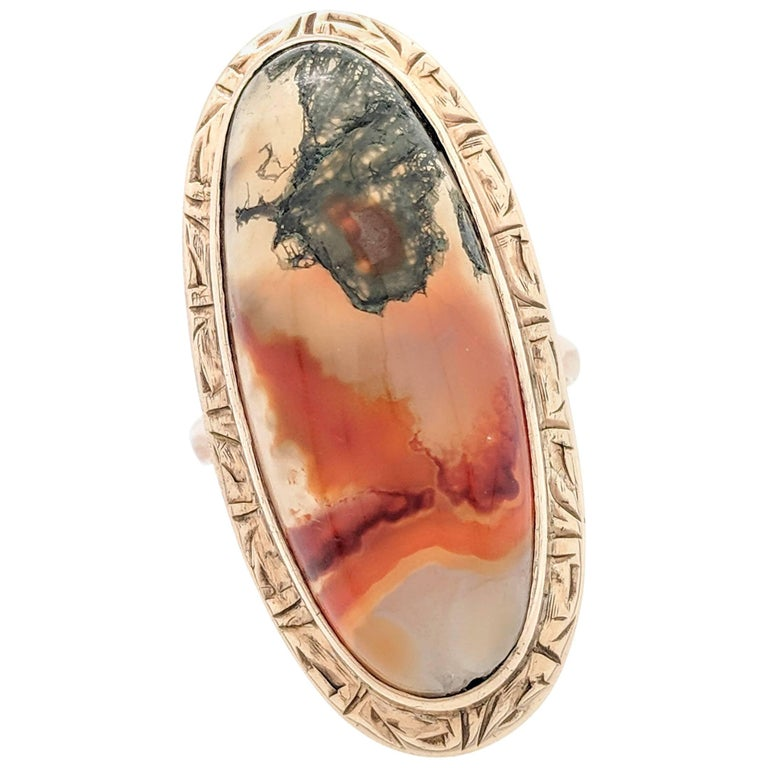 10 Karat Yellow Gold Bandit Agate Ring