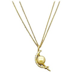 Tasaki 18 Karat Diamond and Natural Pearl Pendant/Pin 18 Karat Chain Necklace