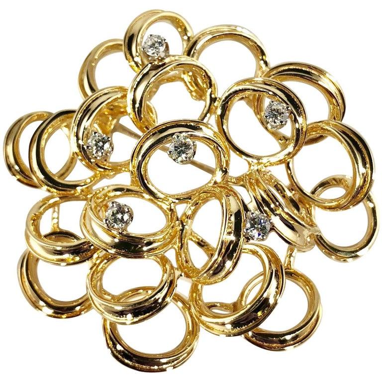 Henry Dankner and Sons Vintage 14 Karat Gold and Round Diamond Modern Brooch For Sale