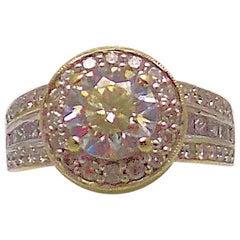 18 Karat White Gold Diamond Ring, Halo Setting
