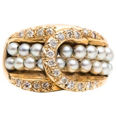 Diamond, Pearl and 14 Karat Yellow Gold Belt Buckle Cocktail Ring