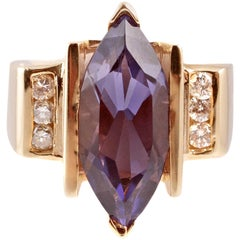 Marquise Amethyst Yellow Gold Diamond Ring