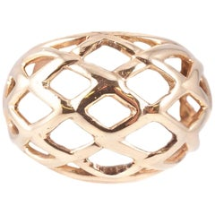 Yellow Gold Dome Basket Ring