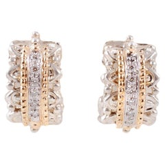 "Yellow Gold Sterling Silver Diamond Earrings by ""Alwand Vahan"""