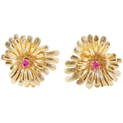 Vintage Ruby Yellow Gold Earrings