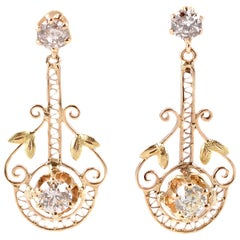 1.50 Carat Diamond Yellow Gold Earrings