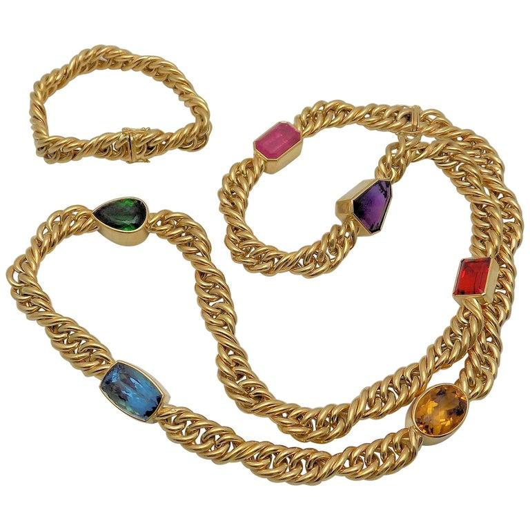 18 Karat Yellow Gold Multi-Gemstone Necklace and Bracelet Set