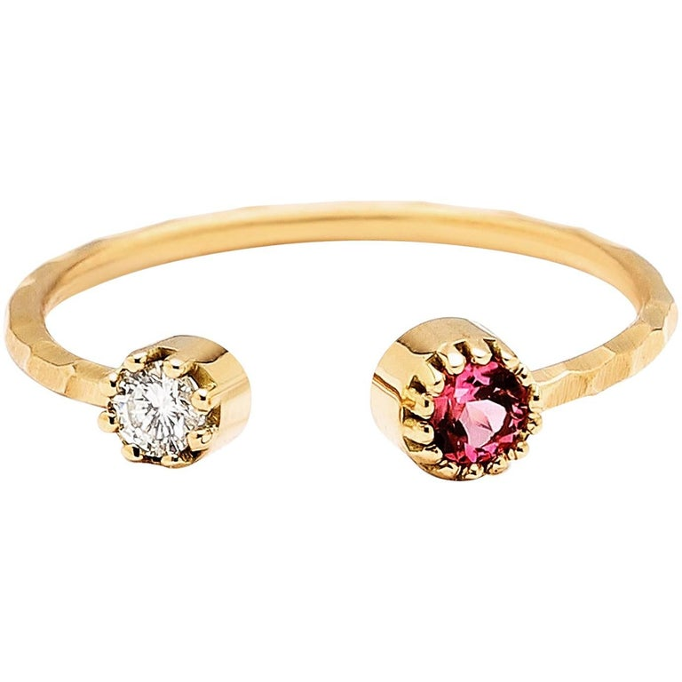 Open Ring with White Diamond and Pink Tourmaline in Pronged Bezels