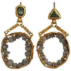 22 Karat - 21 Karat Gold Earrings with Raw Diamonds and Demantoid Garnets