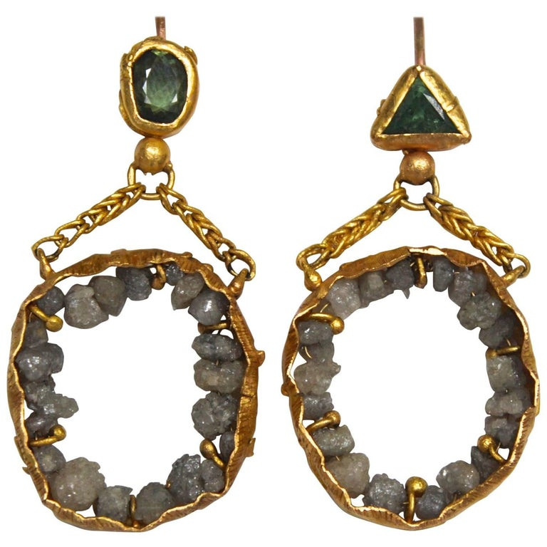 Raw Diamonds Demantoid Garnets 22 Karat - 21 Gold Dangle Chandelier Earrings   For Sale