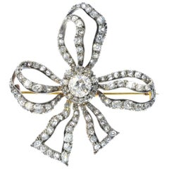 Late Victorian Gold and Silver Diamond Bow Brooch