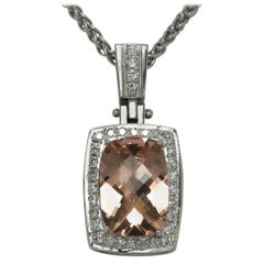 Vintage Morganite Diamond Statement Necklace Gemstone Certified Peachy Pink