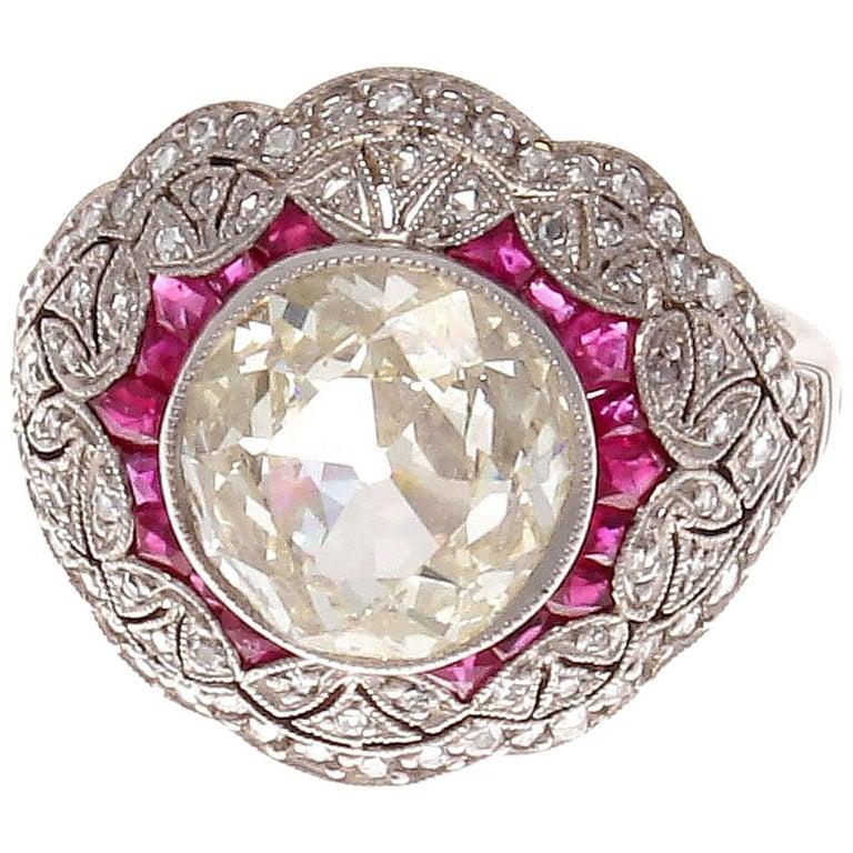 2.17 Carat Old European Cut Diamond Ruby Platinum Engagement Ring