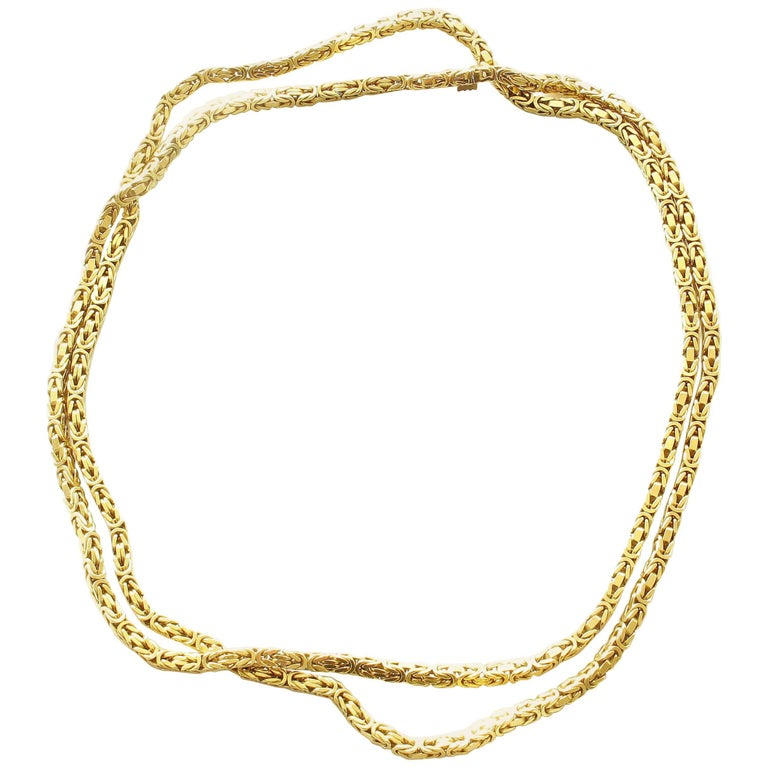 1980s French Braided 18 Karat Gold Chain